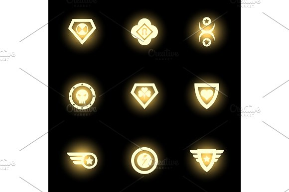 Superhero Emblem Logo Or Icons On Black Backdrop