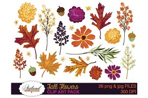 Fall Flowers Clipart Pack