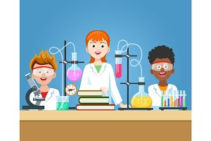 Pupils in chemistry lab