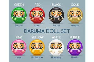 Colored japan daruma monk dolls