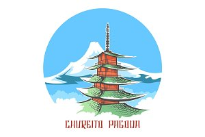 Chureito pagoda landscape japan emblem