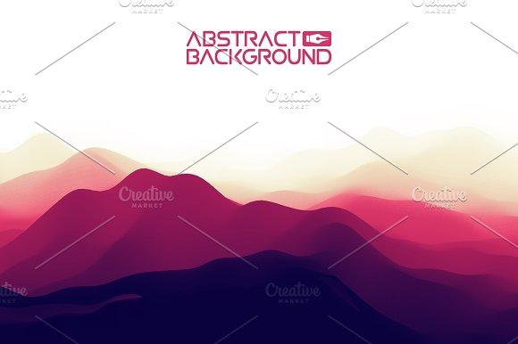 3D Landscape Background Purple Gradient Abstract Vector Illustration.Computer Art Design Template Landscape With Mountain Peaks
