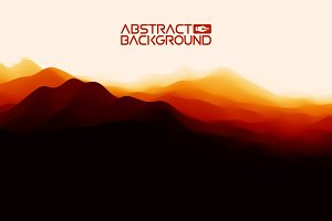 3D landscape Background. Black red Gradient Abstract Vector Illustration.Computer Art Design Template. Landscape with Mountain Peaks