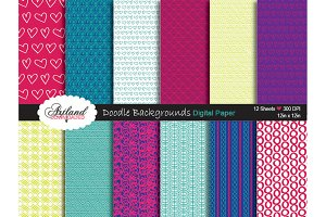 Doodle Backgrounds Digital Paper