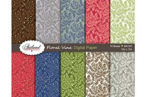 Hand Drawn Floral Vine Digital Paper