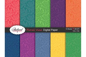 Floral Vine Digital Paper - Brights