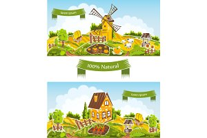 Rural landscapes vector illustration