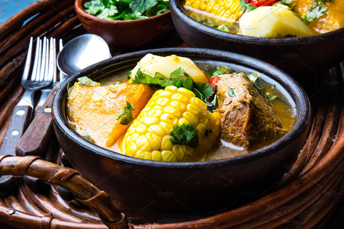 Latin American food. Traditional chilean pork soup cazuela ...