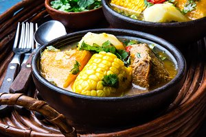 Latin American food. Traditional chilean pork soup cazuela. Cazuela Chilena
