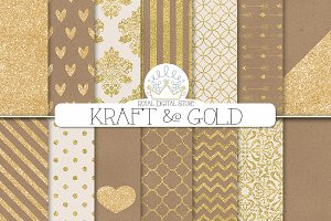 KRAFT and GOLD textured background