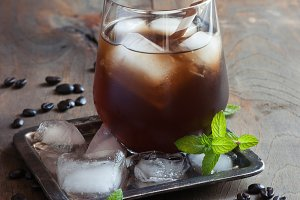 Iced coffee, refreshing cold drink