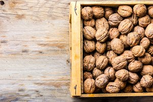 Box of walnuts. Harvest concept