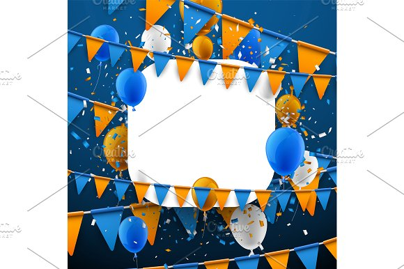 Festive set with flags & balloons in Illustrations - product preview 3