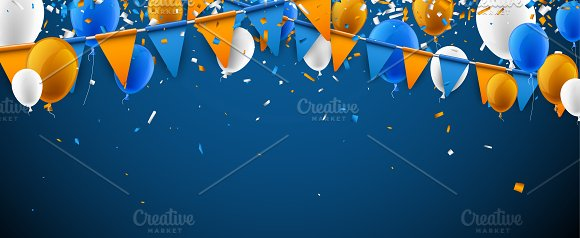 Festive set with flags & balloons in Illustrations - product preview 6