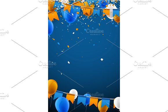 Festive set with flags & balloons in Illustrations - product preview 7