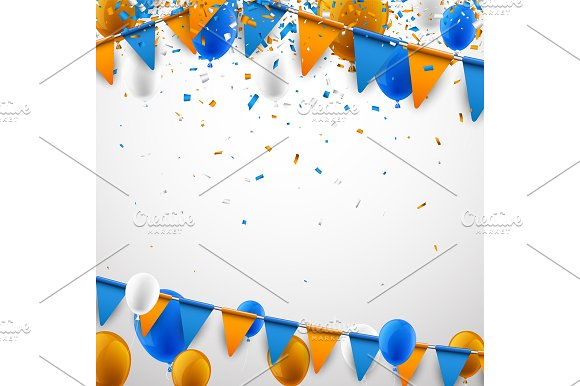 Festive set with flags & balloons in Illustrations - product preview 8
