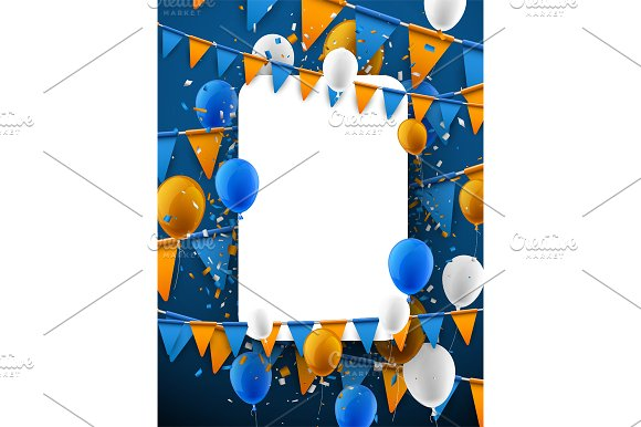 Festive set with flags & balloons in Illustrations - product preview 11