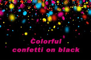 Glossy colorful confetti on black