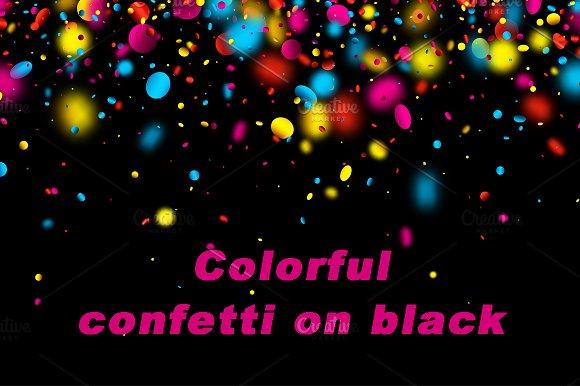 Glossy Colorful Confetti On Black
