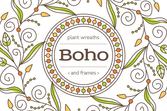 Boho Frames And Wreaths Set