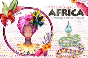 Dreaming Africa Watercolor Flowers