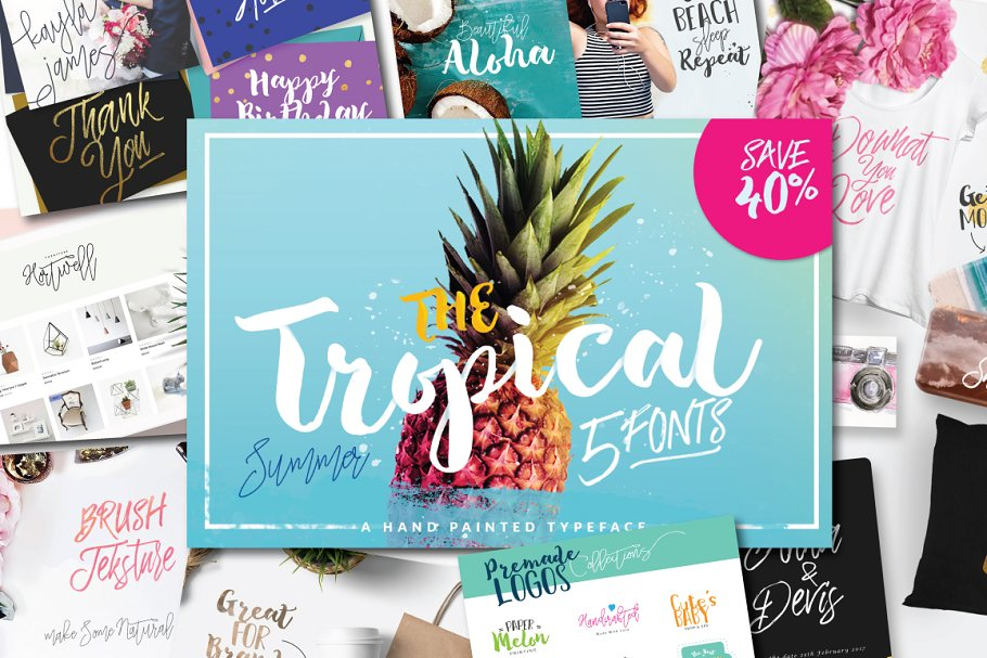 SALE !!! The Tropical - 5 Fonts ~ Display Fonts ~ Creative Market