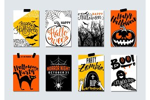Collection of happy halloween and party typography flyer, poster