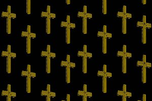 Neon Christian Cross Seamless Pattern Design