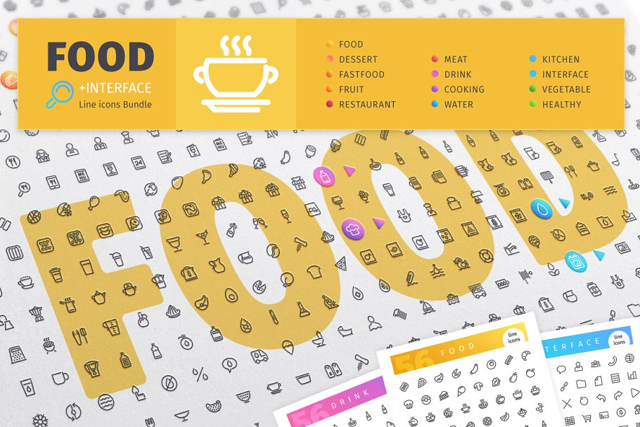 Food 800+ Line Icons Bundle