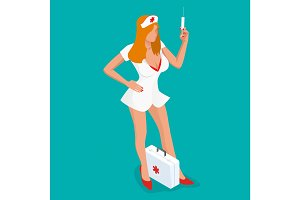 Sexy nurse. Isometric people. Beautiful young nurse in uniform holding syringe while standing isolated on blue background. Vector illustration.