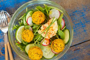 salad with falafel
