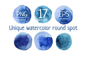 Watercolor round elements set.