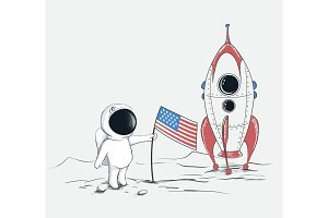 Cute spaceman on Moon