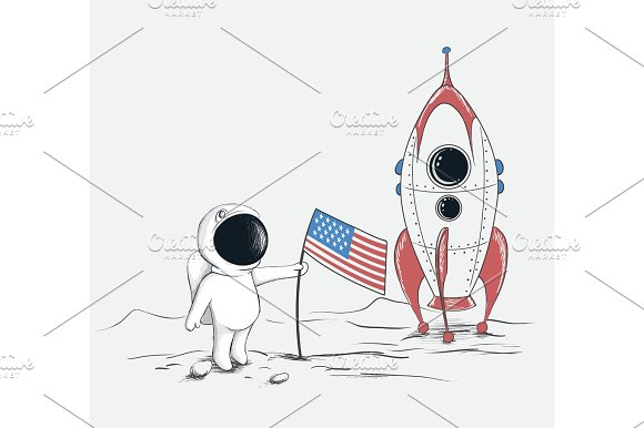 Cute Spaceman On Moon