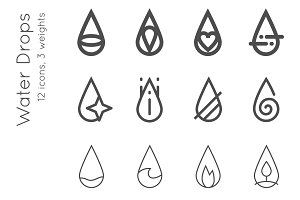 Water drops. 12 vector icons