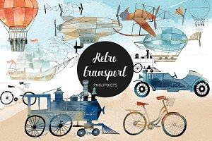 Watercolor retro transport