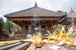 Offerings in a buddhist temple