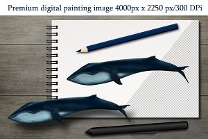 Digital painting image Blue whale