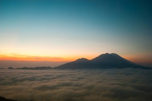 Sunrise at the top of a volcano