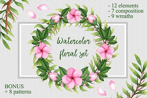 Watercolor floral wreaths, elements