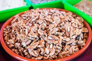 plate of walnuts