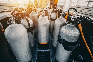 Oxygen and Nitrox tanks for dive