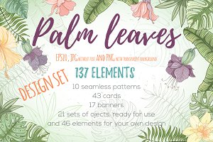 Palm leaves design set