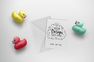 Rubber Duck Greeting Card Mockup