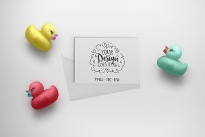 Kid friendly card mockup with ducks