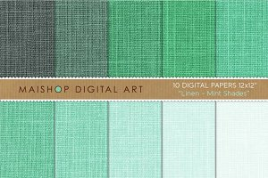 Digital Paper-Linen-Mint Shades
