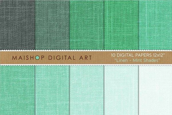 Digital Paper-Linen-Mint Shades