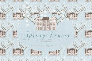 Spring Houses Vector Pack