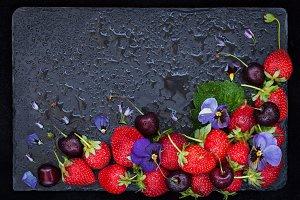 Fresh strawberry and cherry