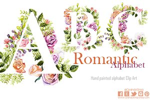 Romantic watercolor floral alphabet